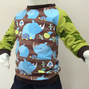 Boy Toddler shirt, Organic boys T-shirt, 12-18 months, Long Sleeve Tee, rhinoceros, European Handmade