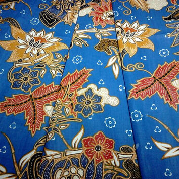Indonesian Batik Rich Blue Floral Print Fabric Pure Cotton - 2 Yards