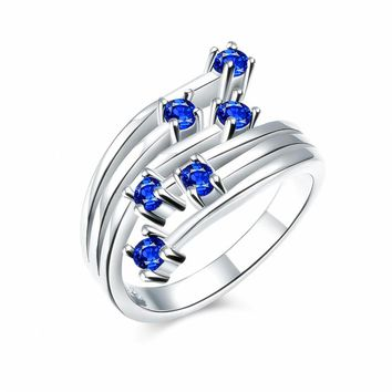 Hot Sale Silver Plated Ring Blue Crystals Pave Cubic Zircon Stone Nickel Free Mix Order Health Jewelry 3 Colors