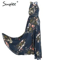 Lace up halter floral long dress Women 2017 summer chic backless evening party maxi dress Hollow out sexy dress vestidos -03d28