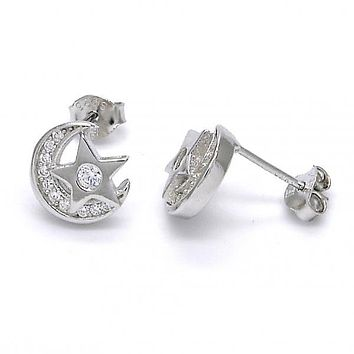 Sterling Silver 02.285.0071 Stud Earring, Star and Moon Design, with White Cubic Zirconia, Polished Finish,