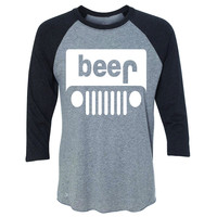 Zexpa Apparel™ Beer Jeep Funny  3/4 Sleevee Raglan Tee Drinking Off-Road Party Alcohol Tee