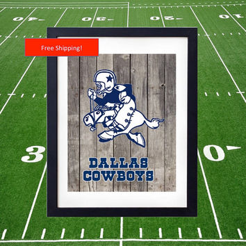 1960 Vintage Dallas Cowboys Inagural Jersey Logo Poster Man Cave Football NFLGift for Him Fathers Day Super Bowl Print