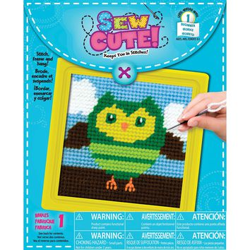 """Owl Learn To Sew Needlepoint Kit-6""""X6"""" Stitched In Yarn"""