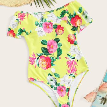 Floral Off The Shoulder One Piece Swimsuit