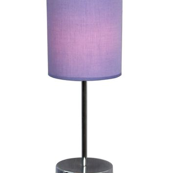 Simple Designs LT2007-PRP Chrome Mini Basic Table Lamp with Fabric Shade, Purple