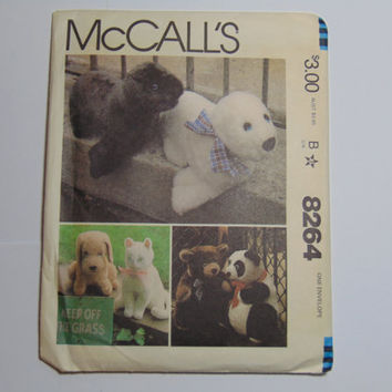 McCall's Pattern 8264 Set of Stuffed Animals Bear Panda Seal Dog Cat 1982