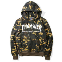 THRASHER flame men and women long sleeve sets loose fleece hoodies Camouflage