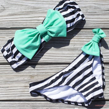 Sailor's Girl Black Striped Mint Bow Bandeau Bikini