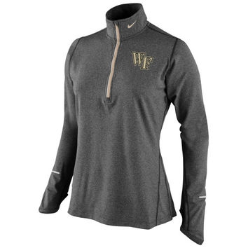Wake Forest Demon Deacons Nike Women's Element Half Zip Performance Pullover Top - Charcoal