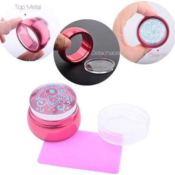 3.5cm Chess Jelly Nail Art Stamp Stamping Silicone Metal Handle Stamper Scraper With Cap Plate Printing Tools Manicure Kit Set