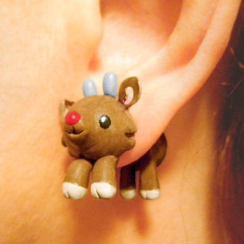 Cute Rudolph Fake Plugs Christmas Earrings by AllieCharms on Etsy