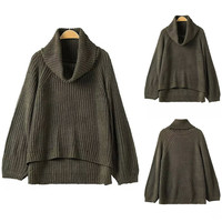 Olive Green Cowl Neck Layered Knit Sweater