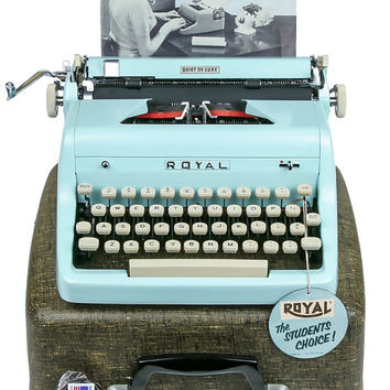 1955 Blue Royal Quiet De Luxe Typewriter / Professionally Serviced / Royal Typewriter / Working Typewriter / Typewriter / Writer Gift
