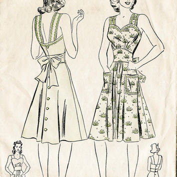 1940s vintage sewing pattern apron play dress pocket and bow tie bust 30 b30 Advance 2657