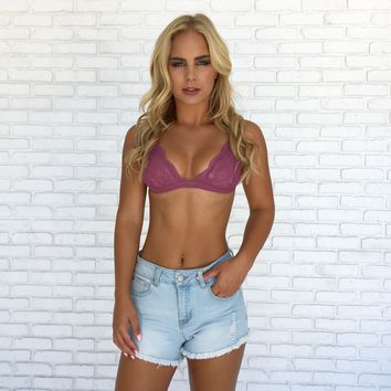 Plum Lace Triangle Bralette
