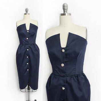 Vintage VICTOR COSTA Dress - 1980s Navy Blue Fitted Strapless Full Party Cocktail 80s - Small