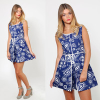 Vintage 60s PAISLEY Print ROMPER Blue & White Mod Jumper FLORAL Mini Dress