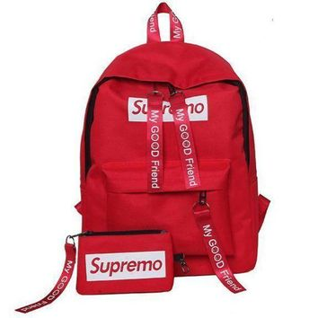 CREYUP0 Supreme Canvas Casual Sport School Shoulder Bag Satchel Laptop Bookbag Backpack Clutch Bag Wristlet Purse Two-Piece-3