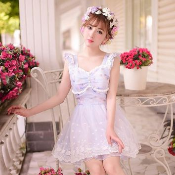 Princess sweet lolita dress Candy rain Summer Japanese style sweet lace bow sleeveless princess dress C22AB6035