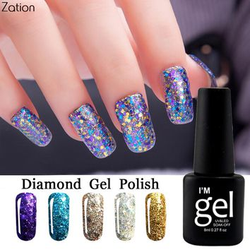 Zation Soak Off Bling Diamond Glitter UV Nail Gel Polish Led Base Top Gel Nail Polish 8ML Enamel Permanent Nail Art