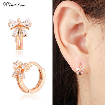 Cute Gold Plated Bowknot w CZ Crystals Round Circle Huggies Small Hoop Earrings for Women Children Girls Baby Kids Jewelry Aros