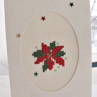 handmade cross stitched Christmas poinsettia card – Happy Holidays