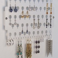 Earring Holder Organizer Wall Mount Closet Jewelry Storage Rack Acrylic - Angelynn's (Earring Angel White)