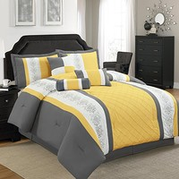Legacy Decor 7 Pc Grey, Yellow and White Striped Comforter Set with Embroidered Design, Full Size
