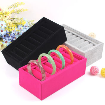 2015 BLACK High Quality  Velvet 10 cells Bracelet Jewelry Display Holder Stand Rack Bracelets Boxes Accessories Shelf