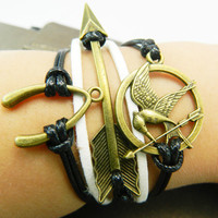 Christmas gift Ancient bronze wishbone-arrow and Hunger Games Mocking Bird -- white and black wax rope adjustable braided leather  bracelet