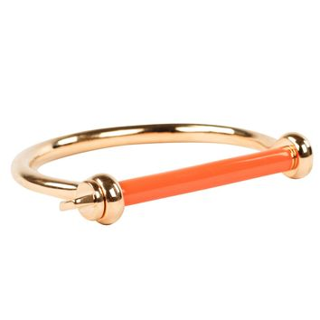 Gold Plated Screw Cuff with Peach Enamel Bar