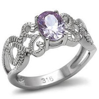 Serendipity - FINAL SALE Wonderfully Crafted Light Amethyst Oval Cut Cubic Zirconia Stainless Steel  Ring