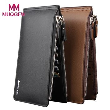 Men Wallet Purses Long Zipper Leather Wallet Carteras Clutch Bag Card Holder Business Billfold Pocket Two Side 2018 Black Brown