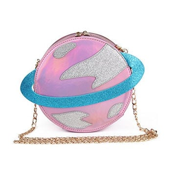 So Fab Circular planet party bag women Bestie handbag laser planet orbit bag cute shoulder bag C54 (Parent, Pink)