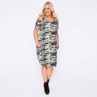 Casual Camouflage Short Sleeve Dress