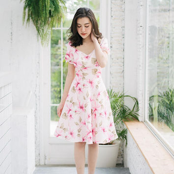 Happily Ever After - Pink Floral Dress Puff Sleeve Dress Snow White Dress Swing Dance Dress Summer Dress Homecoming Lolita Bridesmaid Dress