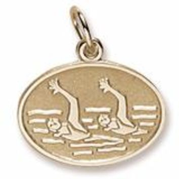 Synchronized Swimming Charm in Yellow Gold Plated