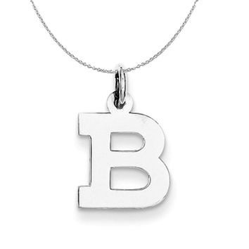 Silver, Amanda Collection Small Block Style Initial B Necklace