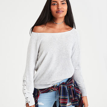 AE Lace-Up-Sleeve Sweatshirt, Gray