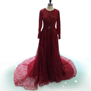 Scoop Neck Long Sleeve Train Prom Dresses Appliques Sheer red Evening Dresses Formal Gown evening dresses beaded