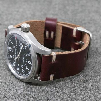 Leather Watch Band   The Hudson Strap    Horween Burgundy Color #8 Chromexcel Watch Strap - Handmade