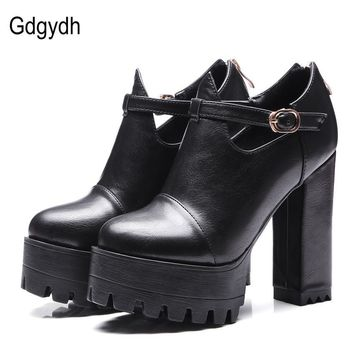 Gdgydh Spring Office Shoes Women High Heels 2017 New Ankle Strap Platform Women Pumps
