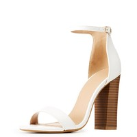 Faux Leather Ankle Strap Block Sandals | Charlotte Russe