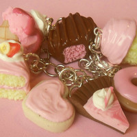 strawberry/pink polymer clay sweets charm by ScrumptiousDoodle