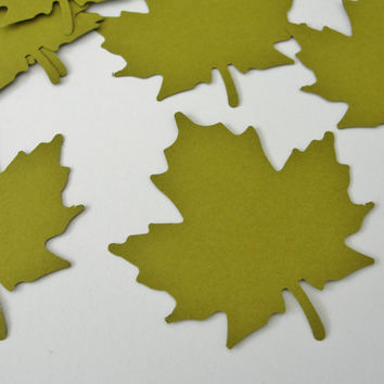 Autumn Fall Green Leaf Leaves Paper Cut Outs Cutouts Scrapbook Embellishments Tags Decorations  Set of 50