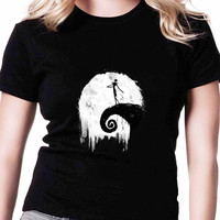 Nightmare Before Christmas Jack Skellington Singing TV Womens T Shirts Black And White
