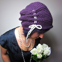 The Victorian Slouch Hat in Purple - Womens Crochet Hat