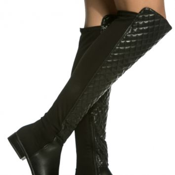 Black Faux Leather Quilted Knee High Boots @ Cicihot Boots Catalog:women's winter boots,leather thigh high boots,black platform knee high boots,over the knee boots,Go Go boots,cowgirl boots,gladiator boots,womens dress boots,skirt boots.