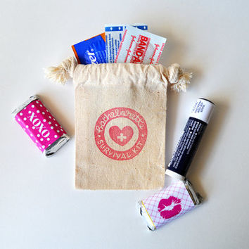 Bachelorette Party Survival Kit Favors Hangover Muslin Favor Bag